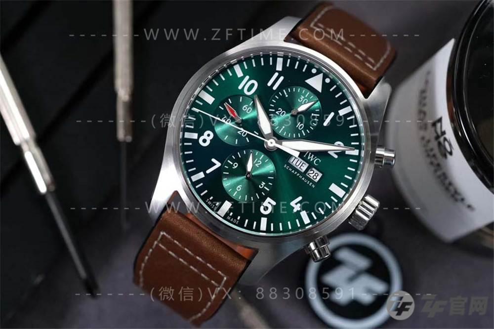 ZF厂万国飞行员IW377726赛车计时绿盘复刻表「绿飞计」